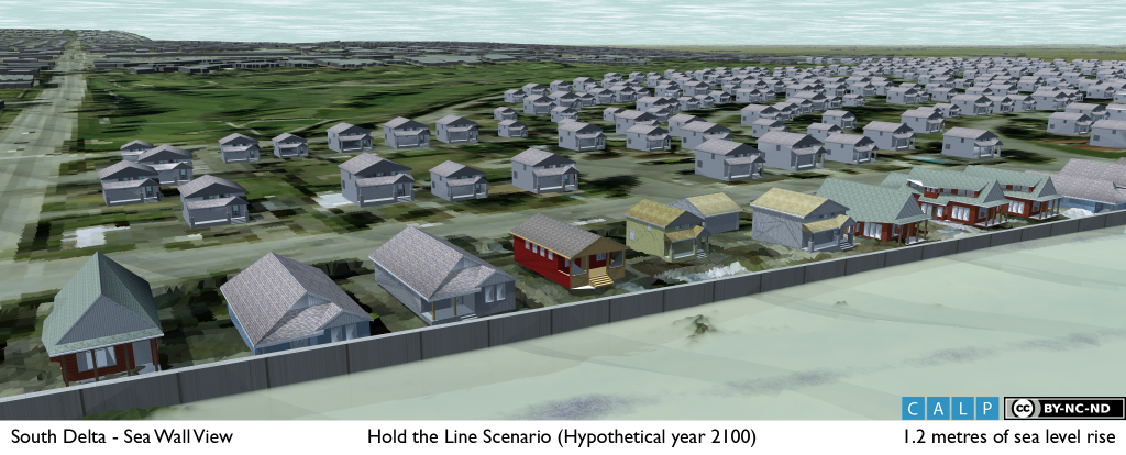 Visualization of adapting to the risk of future sea level rise by raising an existing concrete seawall.