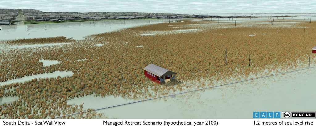 3D visualization of an alternative sea level rise adaptation strategy involving a phased, managed retreat from the most vulnerable parts of the coast.