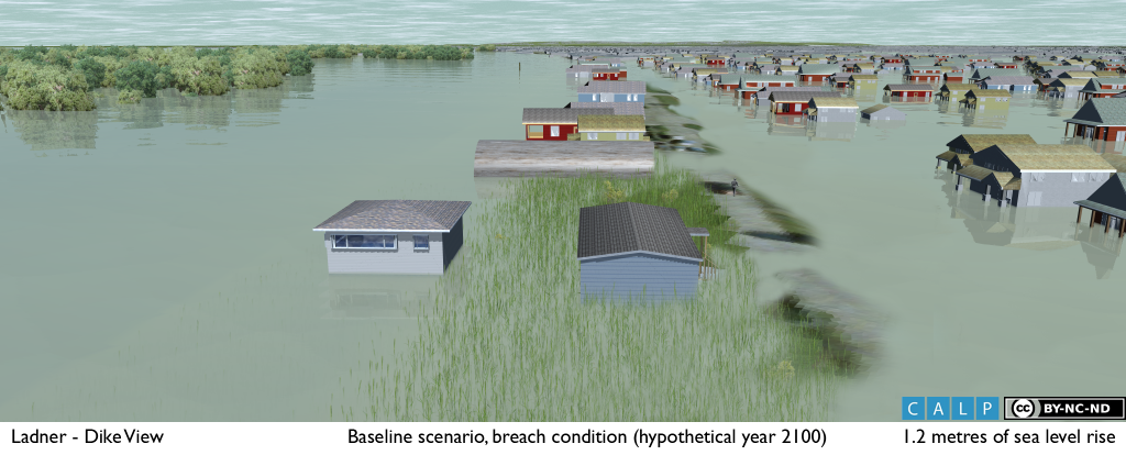 Simulation of an inundation event based on forecasted water levels for 2100