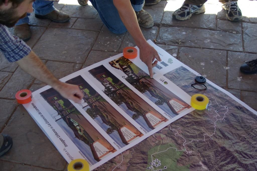 El plan maestra y visualizaciones de intervenciones urbana.