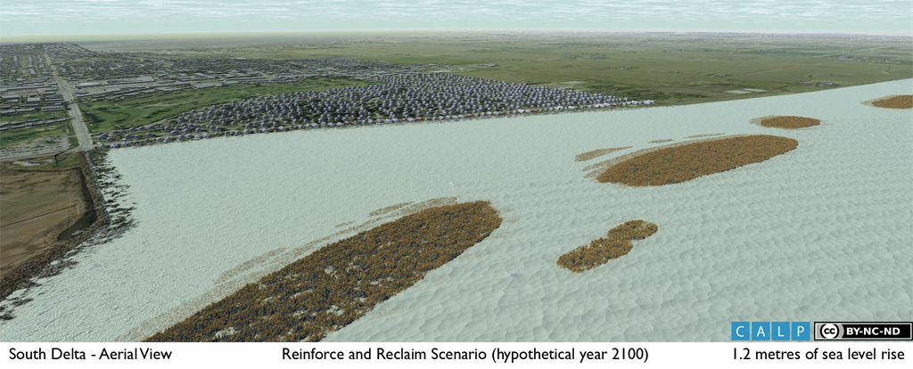 3D visualization of an alternative sea level rise adaptation strategy involving the creation of habitat-rich barrier islands to protect a vulnerable community from storm surges.