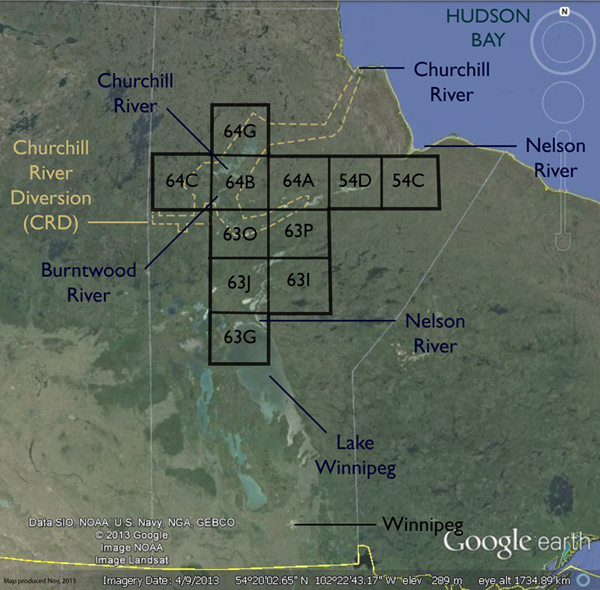 Key map showing the study area in northern Manitoba.