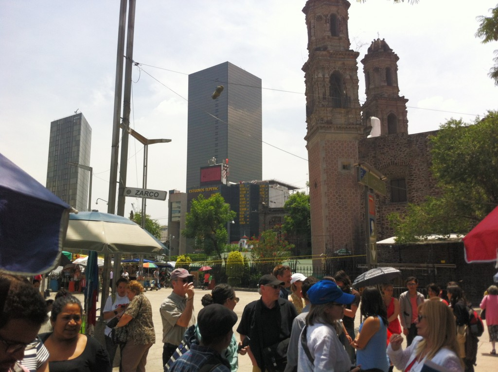 Site visit to Plaza Zarco, with the Church of Saint Judeas Tadeo in the background